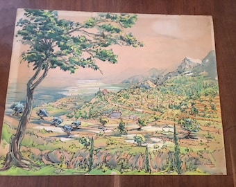 """An Original Pen and Watercolour painting of Provence  by Margot Rampton, 1958, 20"""" x 25"""""""