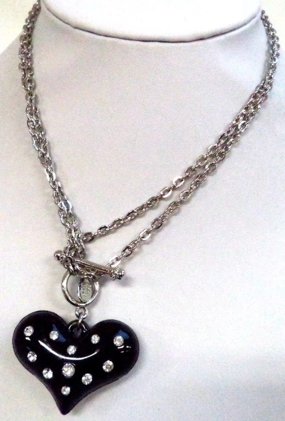 Edgy Black Heart with Ice Rhinestones Signed Cookie Lee Pendant Necklace with Silvertone Chain