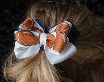 Hair Bow - Custom Football Game Day Bows