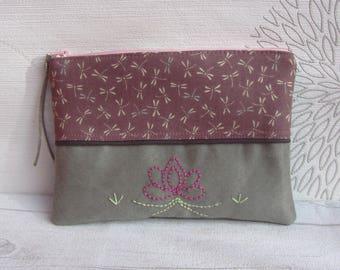 Fabric make-up bag, purse purple fabric, dragonflies, purple grey pouch makeup pouch, pouch lotus dragonflies