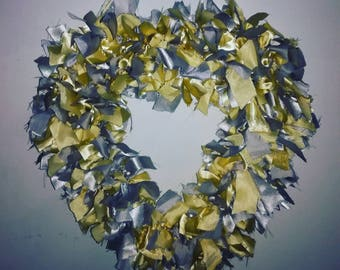 Gold and silver heart wreath