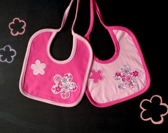 Set of two bibs, pink flower applique, coordinated bibs, fuchsia white magenta, gift for mom, gift for baby, pink baby shower, newborn girl
