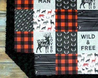 Little Man Minky Blanket - Buffalo Check - Buffalo Plaid Deer Blanket - Buck Blanket - Faux Quilt - Lumberjack baby - Baby Blanket Boy