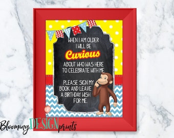 Curious George Happy Birthday Sign my Guestbook 8 x 10