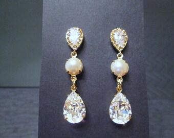 Swarovski Crystal and Pearl Bridesmaid Earrings/ Bridal Jewelry/ Bridesmaid Jewelry/Clear Crystal Earrings/ Pearl Earrings/Pearl Jewelry