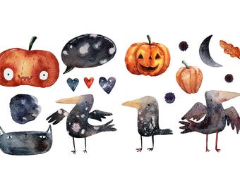 Watercolour Halloween Elements 17 Clipart Digital Download PNG High Resolution Q52