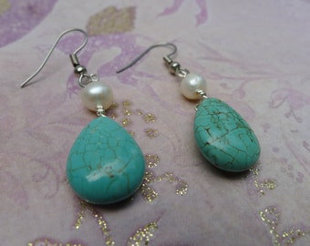 Blue Howlite and Pearl Earrings-Megan
