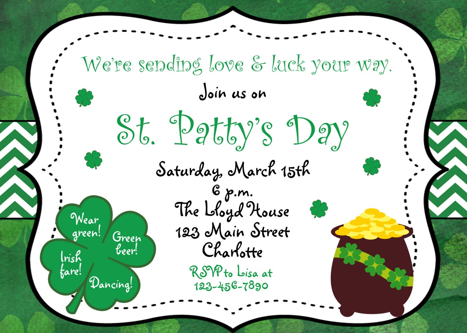 St. Patricks Day party invitation St. Patricks Day Birthday