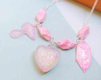 Pink Resin Heart Charm Necklace, Pastel Goth Jewelry, Fairy Kei, Kawaii Necklace, Fairy Necklace, Mahou Kei Jewelry, Crystal Necklace, Cute