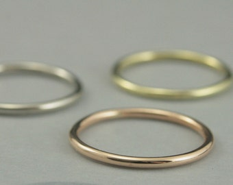 Thick Roll Me Round Solid Gold Band--Solid 14K Gold Full Round 14 Gauge Band-1.5mm--Yellow, White, Green or Rose Gold