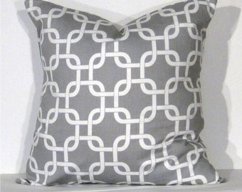 Throw Pillow Cover 16x16  inch Gotcha Grey and White