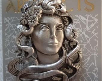 Vintage Signed JJ Silver pewter Art Nouveau Lady Brooch/Pin