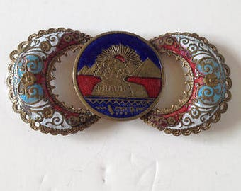 1930s Enamelled Egyptian Sphinx Buckle