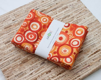 Large Cloth Napkins - Set of 4 - (N7254) - Orange Circles Modern Reusable Fabric Napkins