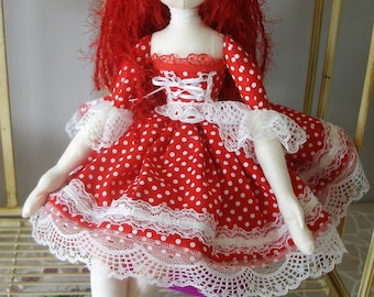 Handmade OOAK collectable cloth Art doll in Red & White polka dots w white felt hat