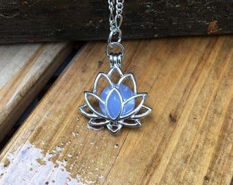 "Silver Lotus pendant Silver Lotus flower necklace Lotus Locket Lotus pendant Lotus jewelry 18"" chain"