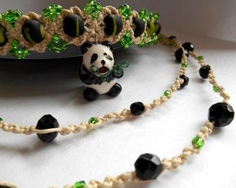 Summer Forest Panda modern macrame choker necklace