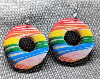 Donut Earrings / Rainbow Glazed Donut / Pride Earrings / Donut Jewelry / Food Earrings / Junk Food Jewelry / Strawberry Glaze Donut