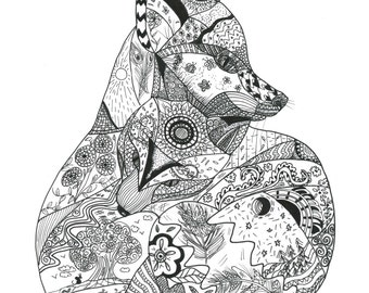 Fox ink drawing/ Giclee fine art print/ A4 black and white print