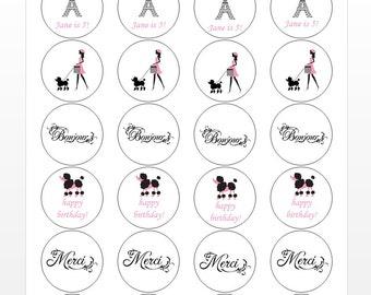 24 Paris Stickers, Paris Theme, First Birthday, Poodle, French Girl, Dog Walking, Pairs Theme, Paris Birthday, Paris Labels, Pink Poodle