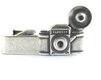 Camera Tie Bar Sterling Silver Ox Finish Camera Tie Clip Gifts For Men Groomsmen Gifts