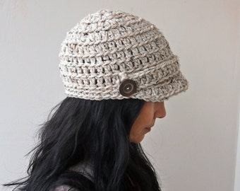 Crochet PATTERN, newsboy hat pattern, chunky hat, brim hat, woman crochet hat, man hat crochet pattern, DIY tutorial