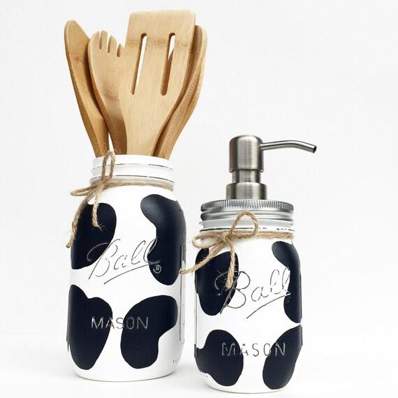 Mason Jar Kitchen Rug: Handpainted Cow Mason Jar Set Cow Print Mason Jar Mason Jar