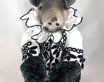 OOAK fine art doll: Kune Piglet in Embroidered Waistcoat