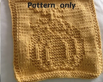 PATTERN - dishcloth / washcloth knitting pattern - Pumpkin