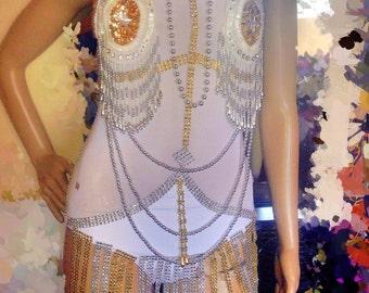 Onepiece showgirl white silver gold costume samba burlesque