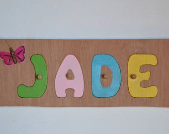 Wooden name puzzle / personalized Puzzle / deco Butterfly / educational toy