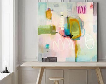 Abstract print pink large, abstract painting print, blush pink and blue abstract art print, pink blue green abstract canvas art large print