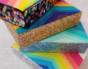 Glitter edges &  dipped tiny block.