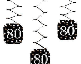 80th Birthday Hanging Decorations - Adult 80th Birthday - Gold Hanging Party Decorations - Set of 6