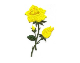 Rose - Yellow - Gardening - Flower - Rose - Embroidered Iron On Applique Patch