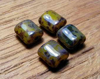 Czech Rustic Green/Black/Brown Puffed Rectangles, 8x7.50mm, 4ct.