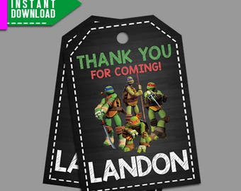 TMNT Thank You Tag, TMNT Favor Tag, Teenage Mutant Ninja Turtles, Editable PDF Template, Instant Download, Editable Instant Download
