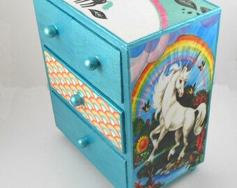 Unicorn Rainbow Metallic Glitter Stash Jewelry Box