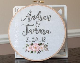 Wedding Blooms . Custom Embroidery Hoop . Made to Order