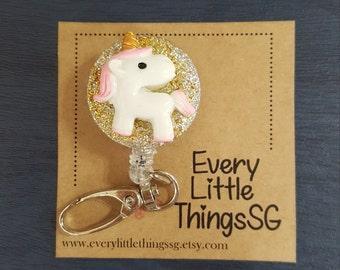Unicorn Badge Reel, Badge Holder, Retractable Key Chain
