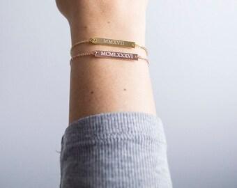 Roman Numeral Bracelet, Engraved bar bracelet, Silver Gold or Rose gold plated, Date Bracelet