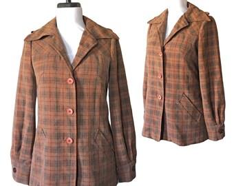 Vintage 1970s Plaid Brown Jacket — XS/S