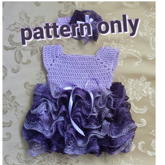Crochet baby dress with ruffle skirt newborn tutu dress.
