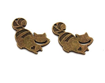 LOT 3 bronze 30x20mm alice cheshire cat charms