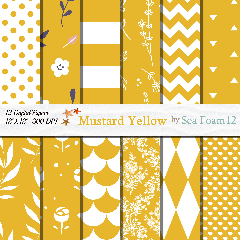 Mustard Yellow Digital Paper, Mustard Yellow Scrapbook Paper ...
