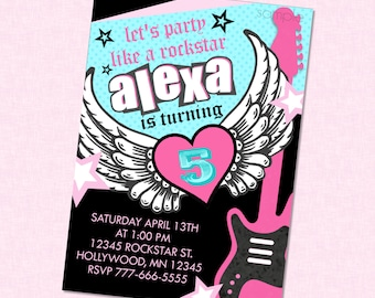 Girly Rockstar Birthday Invitation - Coordinates with Party City Rocker Girl - Guitar Rock Star