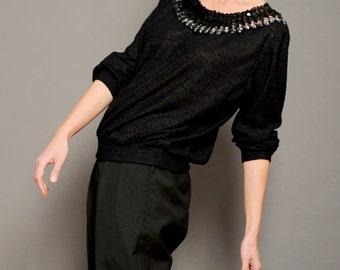 Women's blouse Women's black top Sequins blouse Women's sequins top 80s blouse Knitted top Black sequins top Vtg black top Vintage blouse