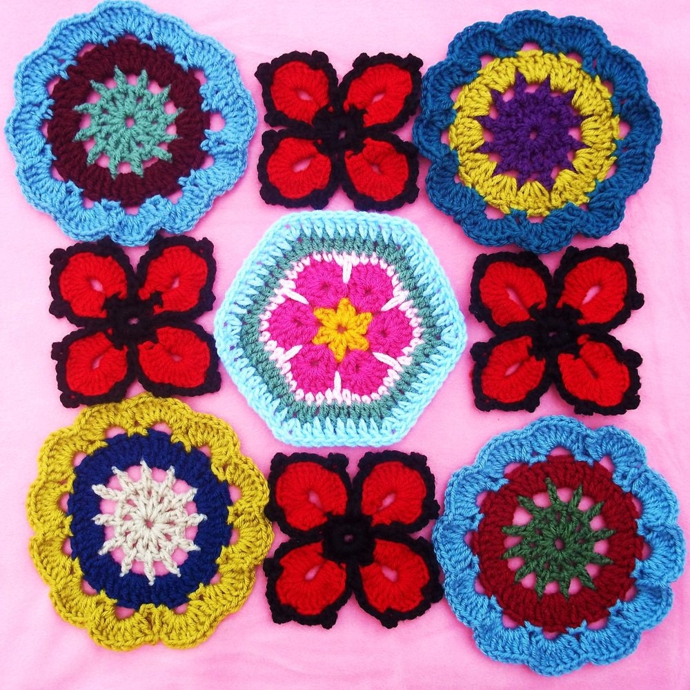 Enchanting Häkeln Afrikanische Blume Sechseck Muster Collection ...