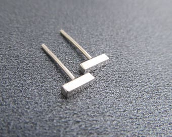 Small Silver Bar Earrings / Sterling Silver Stud Earrings / Post Earrings / Argentium Silver / Eco-Friendly Earrings /Rectangle Studs 105388