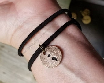 Semicolon Charm on leather or chain Bronze - My story isn't over yet